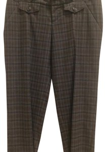 Anthropologie Cartonnier Cropped Checkered Ankle Capri/Cropped Pants Gray/Brown