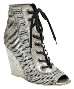 Chanel Metallic Leather Heel Lace Up Peep Toe Silver Wedges
