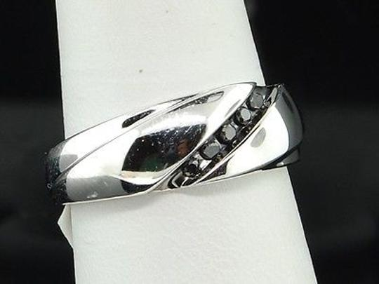 Mens 10k White Gold Black Diamond Engagement Ring 5 Stone Wedding Band Channel