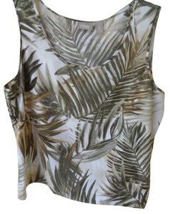 Chico's Size 2 Size Large Printed 100% Polyester Top greens, ecru, beige