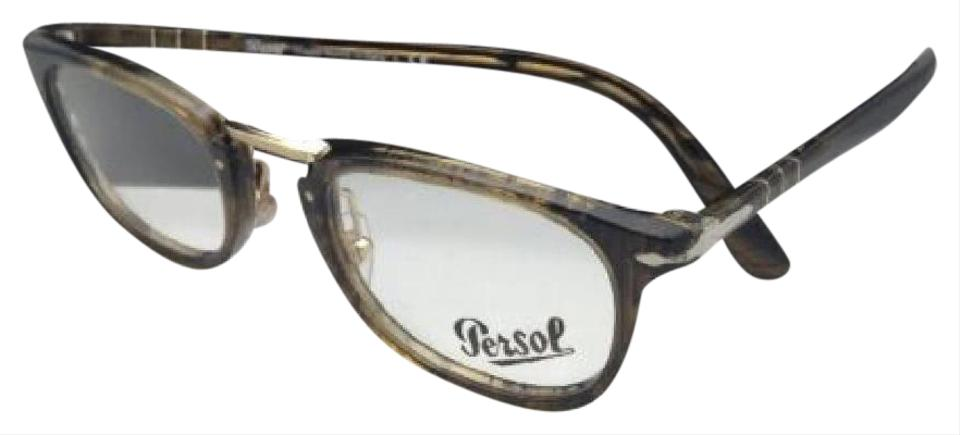 31b7ca35f60 Persol Typewriter Edition PERSOL Eyeglasses 3126-V 1021 48-22 Stripped  Brown Image 0 ...