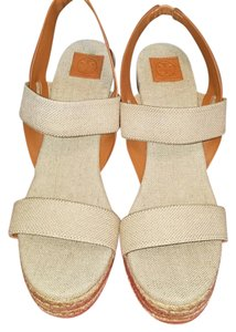 Tory Burch Gold/Natural/Royal Tan Wedges