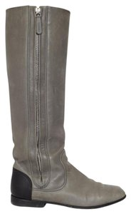 Chanel Tall Knee Riding Flats Cc Clasic Grey Boots