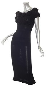 Black Maxi Dress by Chanel Bodycon 08a Knit Rosette