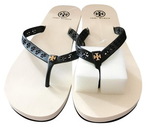 Tory Burch Thong Size 38 Miranda Ivory Bright Navy Sandals