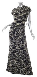 Black/Cream Maxi Dress by Chanel Boucle Tweed Knit Gown