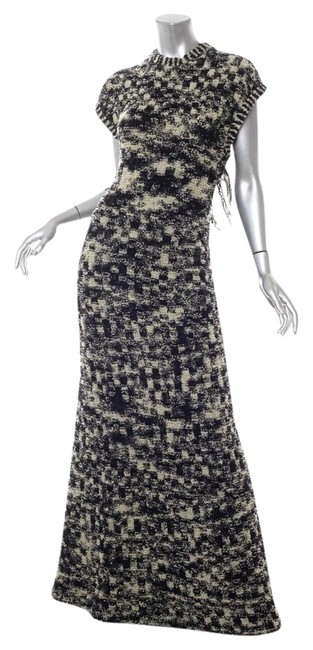 Item - Black/Cream Boucle Tweed Knit Criss-cross Fringe Gown Long Casual Maxi Dress Size 6 (S)