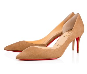 Christian Louboutin Iriza 70mm Kitten Heel Suede Taupe Pumps
