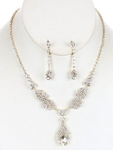 Bridal Layered Austrian Clear Crystal Necklace And Earrings Set *new*