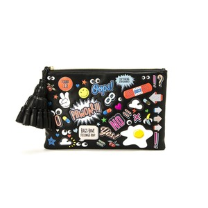 Anya Hindmarch Stickers All-over Stickers Leather Black, Multi Clutch