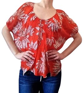 Diane von Furstenberg Silk Floral Summer Spring Top Orange and white