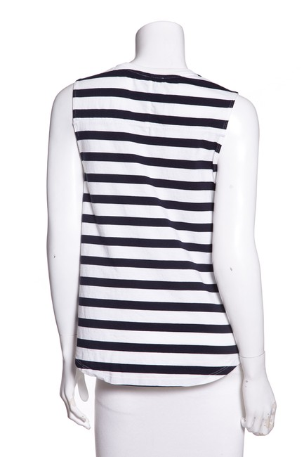 14414401f51 Theory White & Navy Cotton Striped V-neck Tank Top/Cami Size Petite 6 (S)  90% off retail