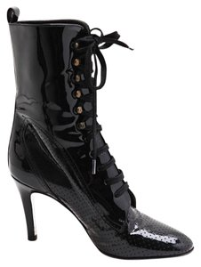 Chanel Ankle Lace Up Patent Leather Black Boots