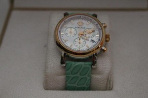 Versace Versace VLB130015 Glam Chronograph Green Leather Watch New