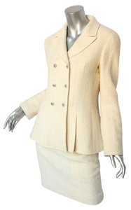 Chanel Cream Ivory Tweed Blazer Jacket Pencil Skirt SUIT