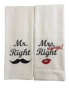 White Unik Occasions Mr Right Mrs Always Right Kitchen Towels - Set Of 2