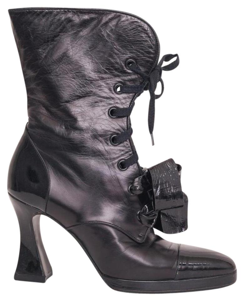 Chanel Black Women s Leather Capped-toe Lace-up Bow Ankle Boots ... 850ec2a25e