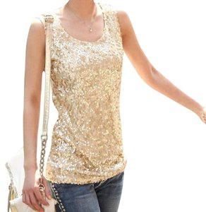 Yiwu Sequined Front 4-way Stretch Top Gold