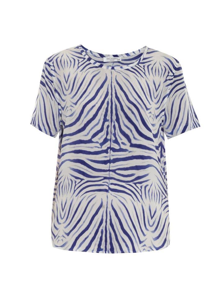 21dd0393d5 Equipment Blue White Riley Silk Zebra Print Tee Shirt Size 2 (XS ...