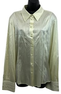 St. John Beige Silk Blouse Button Down Shirt