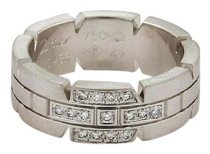 Cartier Tank Francaise Diamond 18k White Gold Band Ring Size EU 47-US 4.