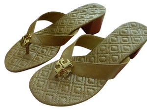 Tory Burch Leather Logo Brown Golden Sandals
