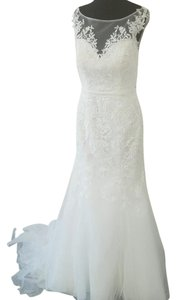 Moonlight Bridal Ivory Lace Low Back Traditional Wedding Dress Size 6 (S)