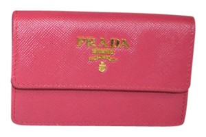 Prada Pink Saffiano Leather Business Card Holder