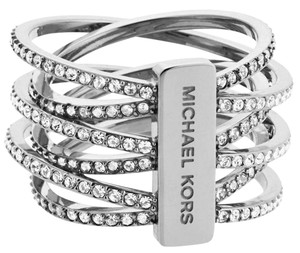 Michael Kors Nwt Size 8 Crystals Spiral Coil Criss Cross Twist Silver Tone Ring