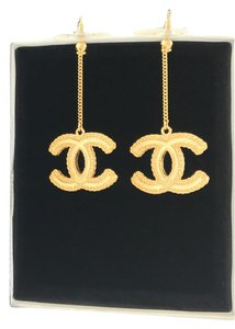 Chanel HOT! Chanel Gold XL CC Logo Matte Dangle Earrings Full Packaging