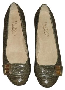 Talbots Nwob Leather 5b Olive Green Flats