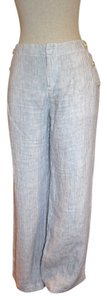 Caslon Wide Leg Pants Blue and White Stripe Linen