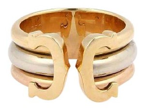 Cartier Double C 18k Tri-Color Gold Open Band Ring Size EU 49-US 4.75 Papers