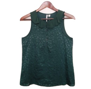 LC Lauren Conrad Ruffle Olive Green Sleeveless Tank Peter Pan Top Dark Olive