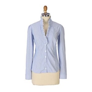 Anthropologie Button Down Shirt Blue and White