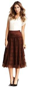 Chaudrey KC Tiered Tulle Midi Peasant Petticoat Skirt Brown