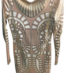 Arden B. Silver Scoop Back Gold Mini Party Dress
