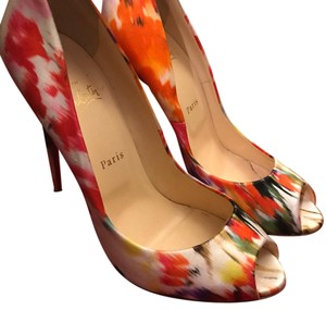 Christian Louboutin white and rainbow Pumps