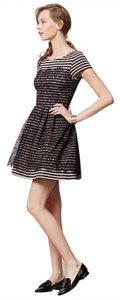 Bordeaux Parisian Striped Lace Overlay Anthropologie Dress
