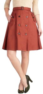 Comme Toi Modcloth Trench A-line Red Skirt Rust
