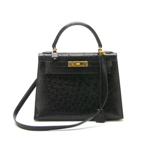 Hermès Kelly Ostrich Gold Hardware Tote in Black
