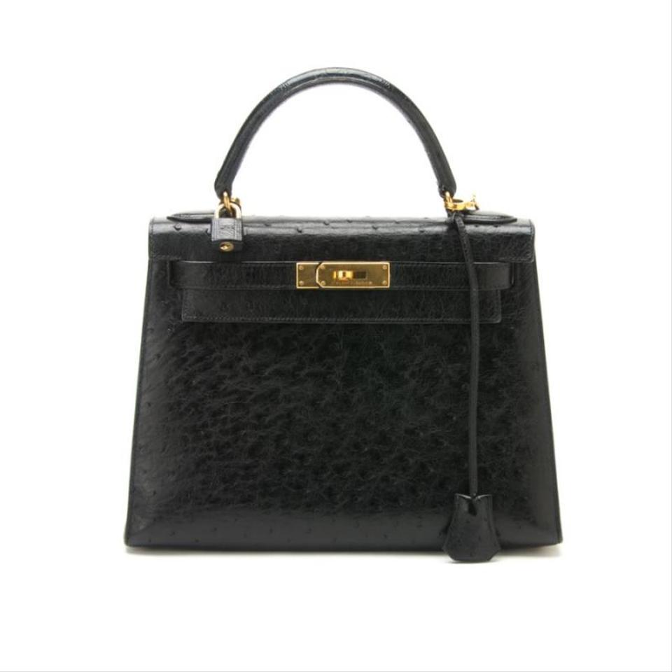 ae161426e8d3 Hermès Kelly 28cm with Gold Hardware Black Ostrich Leather Tote ...