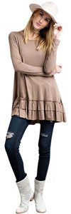 Easel Brown Long Sleeve Tunic Top Cocoa