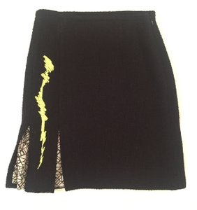 Christian Lacroix Vintage Wool Multicolor Brown Brocade Mini Skirt Black with Green Pattern