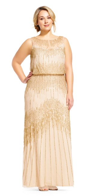 Preload https://img-static.tradesy.com/item/21122096/adrianna-papell-champagnegold-beaded-gown-with-sheer-neckline-and-keyhole-back-16w-long-formal-dress-0-0-650-650.jpg