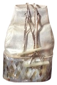 Judith Leiber Crossbody Clutch Satchel in Gold / Mother of Pearl