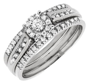 Other Genuine Diamond Trio Set Engagement Band Ring 0.25ct