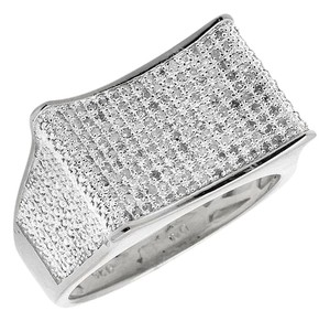 Other Curved Rectangle Wide Diamond Pinky Exclusive Ring 0.50ct.