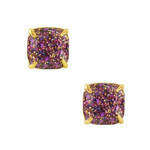 Kate Spade NEW Lamb Jewelry Prince Multi Color Glitter Stud Earrings 12k Gold