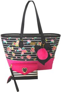 Betsey Johnson Wallet Black/Fuchsia Tote in BLACK/FUCHSIA